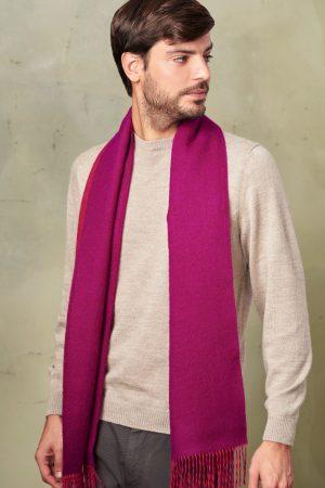 Alpaca wollen shawl fuchsia rood visgraatmotief KUNA