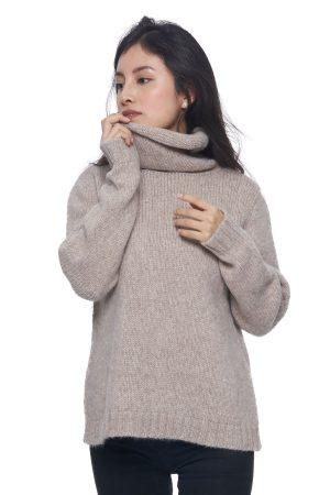 Col sweater van alpaca en merino wol