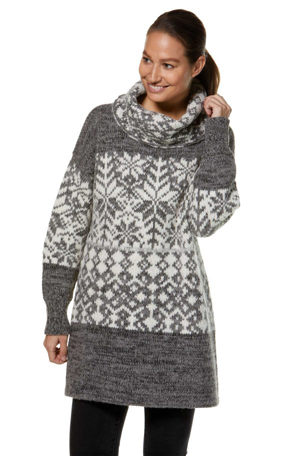 Oversized coltrui tuniek van alpaca wol met Noors gebreid motief