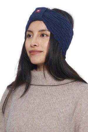 Blauw alpaca wollen hoofdband dames