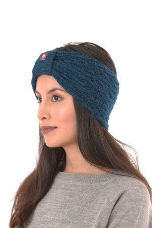 Petrol blauwe hoofdband alpaca wol Apu Kuntur