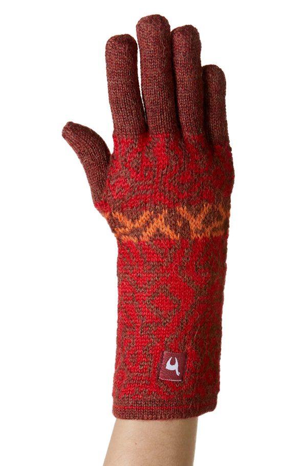Rood oranje gebreide dames handschoenen alpaca wol