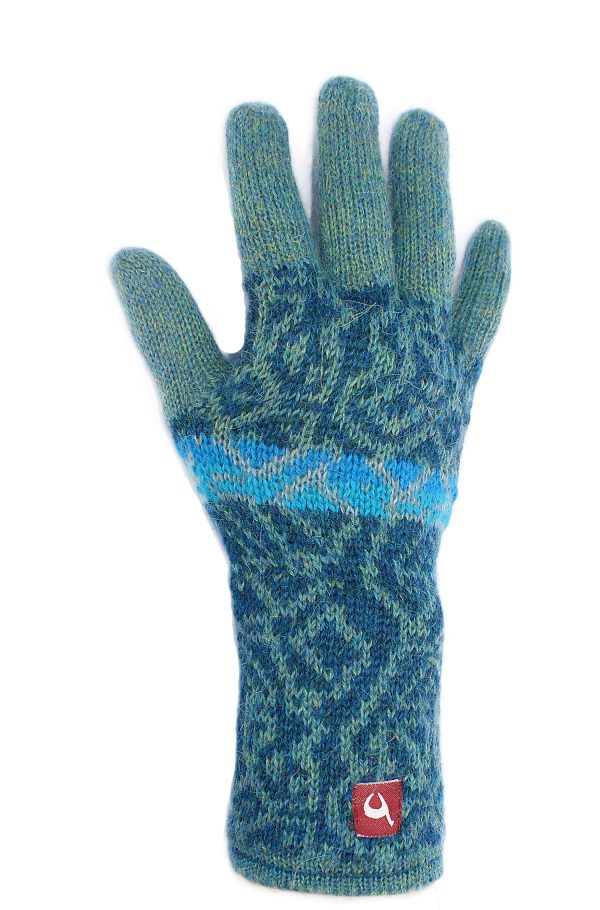 Turquoise blauwe dames handschoenen gebreid van alpaca wol