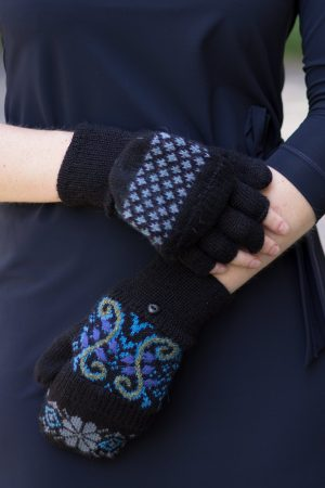 Alpaca wollen wanten met vingers zwart blauw