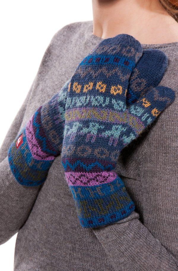 Thermische alpaca wollen wanten blauw grijs patroon