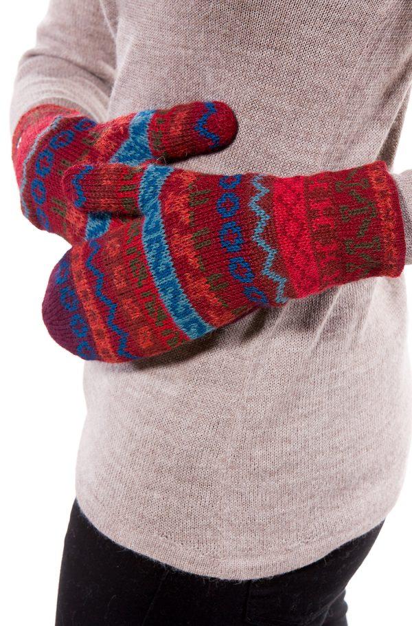 Thermische warm gevoerde wanten van alpaca wol rood patroon
