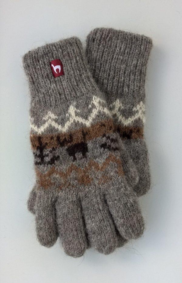 Alpaca wollen handschoenen grijs Noors motief