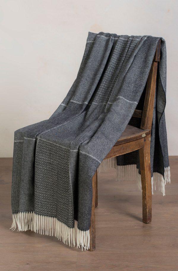 Alpaca wollen woon plaid grijs met franjes