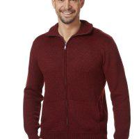 Warm rood heren vest met rits en opstaande kraag van alpaca wol