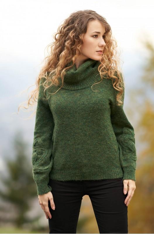 Apu Kuntur dames coltrui groen van alpaca en merino wol