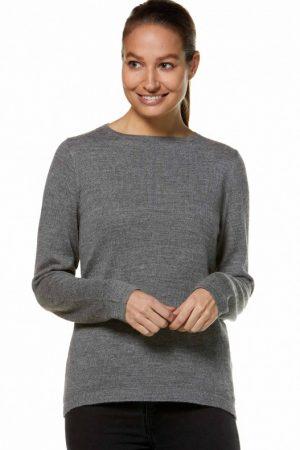 Alpaca wol grijze dames pullover trui ronde hals APU KUNTUR