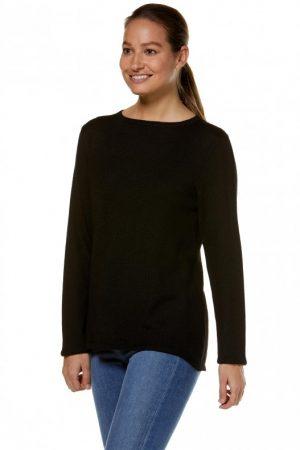 zwarte basic dames pullover van alpaca wol uit Peru Apu Kuntur