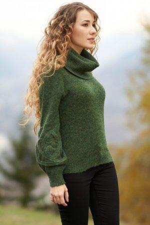 Groene dames coltrui van alpaca en merino wol met grote col kraag