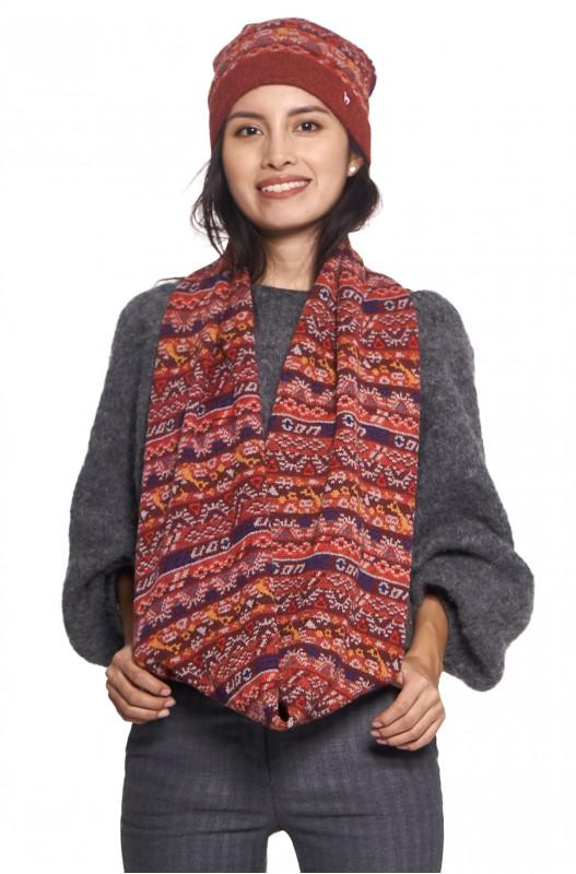 Alpaca wol col shawl GELIA rood motief