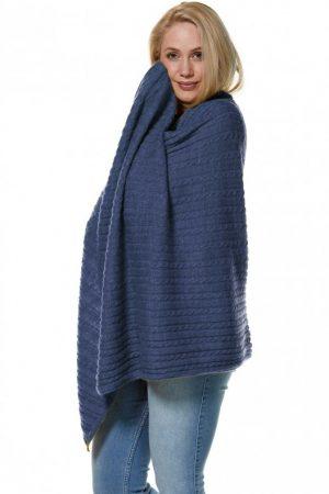 Alpaca wollen deken en stola blauw gebreid kabel motief Apu Kuntur