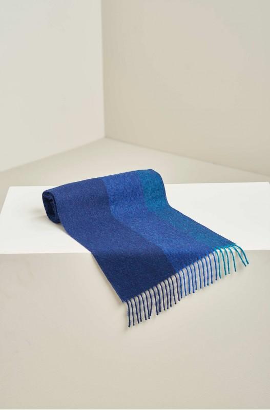 Blauw gestreepte shawl alpaca wol KUNA