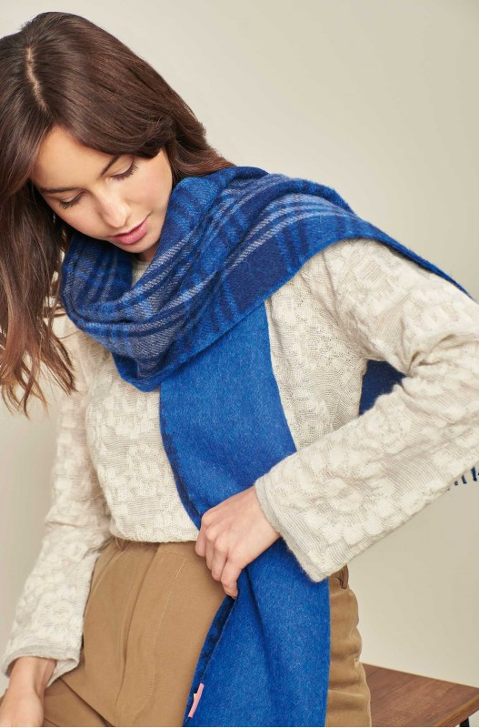 Schots geruite alpaca wollen shawl blauw