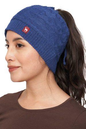 Extra brede dames hoofdband blauw alpaca wol