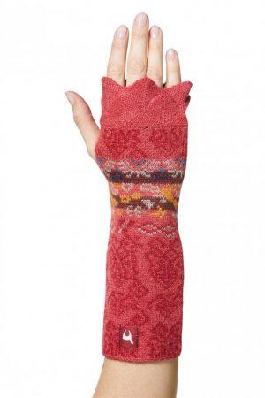 Lange alpaca wollen polswarmer met duimgat koraal rood Gisa