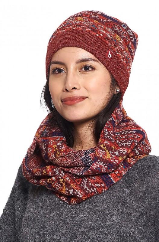 Alpaca wollen col shawl rood gebreid Apu Kuntur