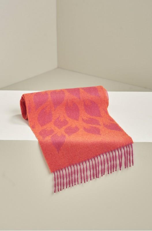 Alpaca wollen shawl oranje fuchsia bladmotief KUNA