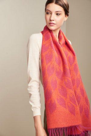 KUNA alpaca wollen shawl gebloemd blad motief