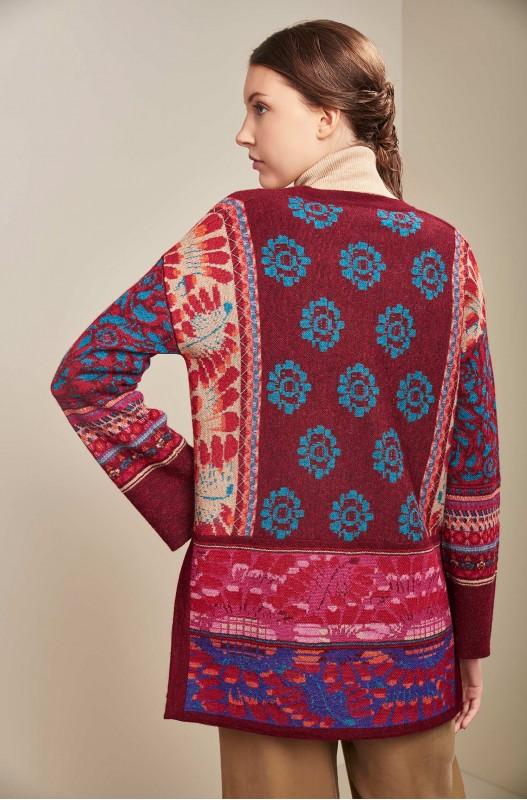 Alpaca wol dames vest rood gebloemd open vallend